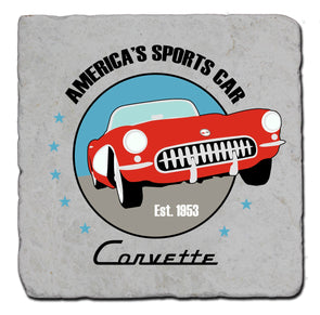 C1 Corvette Illustration Stone Coaster