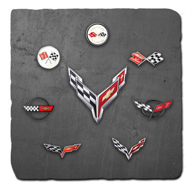 Corvette Generations Dark Stone Tile Coaster