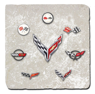 Corvette Generations Light Stone Tile Coaster