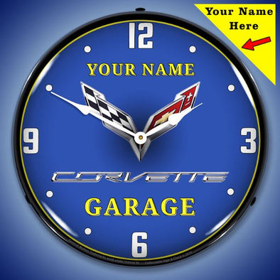 C7 Corvette Garage Lighted Clock- Personalize Option - [Corvette Store Online]
