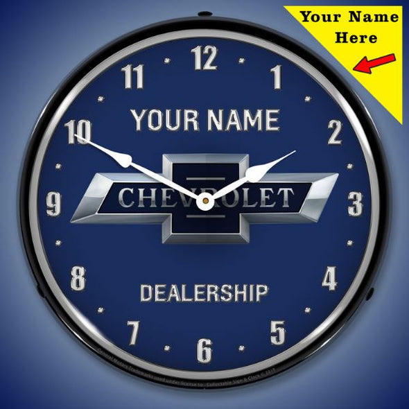Chevrolet Bowtie 100th Anniversary Lighted Clock- Personalize Option - [Corvette Store Online]