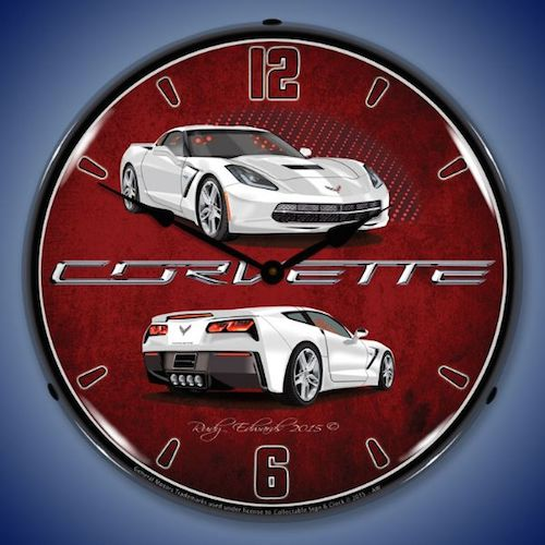 C7 Corvette Artic White Lighted Clock - [Corvette Store Online]