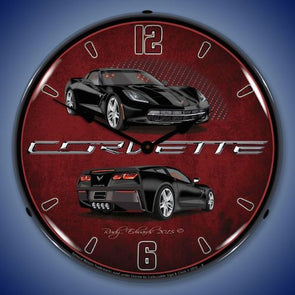 C7 Corvette Black Lighted Clock - [Corvette Store Online]