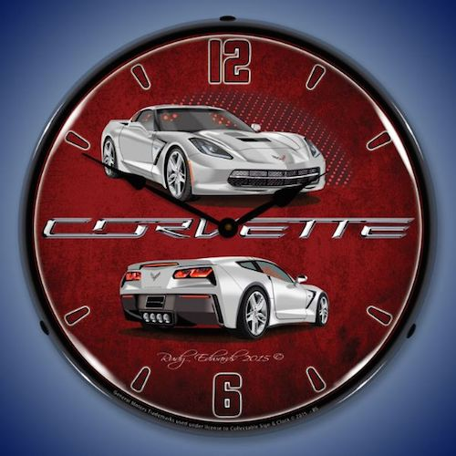 C7 Corvette Blade Silver Lighted Clock - [Corvette Store Online]
