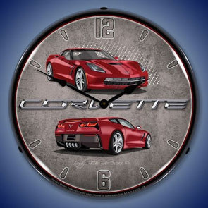C7 Corvette Crystal Red Lighted Clock - [Corvette Store Online]