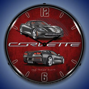C7 Corvette Cyber Grey Lighted Clock - [Corvette Store Online]