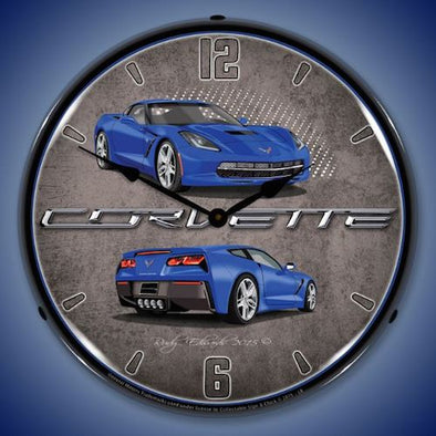 C7 Corvette Laguna Blue Lighted Clock - [Corvette Store Online]