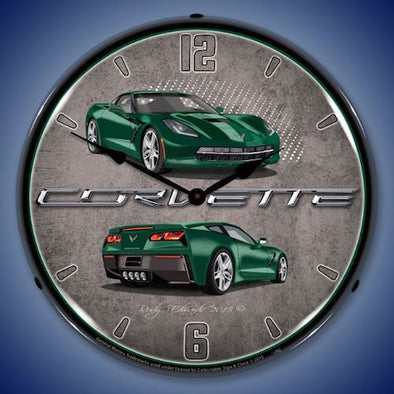 C7 Corvette Lime Rock Green Lighted Clock - [Corvette Store Online]