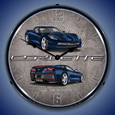 C7 Corvette Night Race Blue Lighted Clock - [Corvette Store Online]