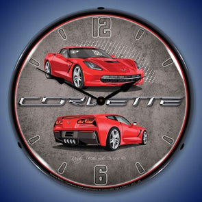 C7 Corvette Torch Red Lighted Clock - [Corvette Store Online]