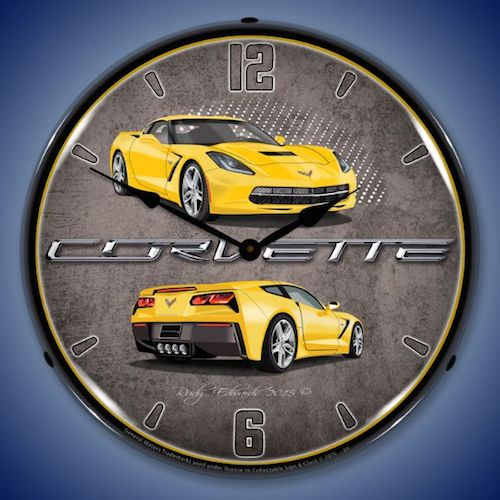 C7 Corvette Velocity Yellow Lighted Clock - [Corvette Store Online]