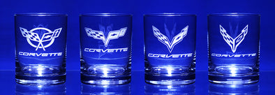 Corvette Generations Complete Set C1-C8 Short Beverage Glass (8)