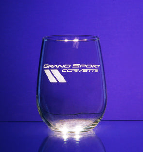 Corvette Logo Stemless Wine Glass (2)