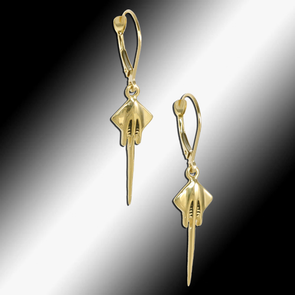 C7 Corvette Stingray Lever Back Earrings - Gold - [Corvette Store Online]