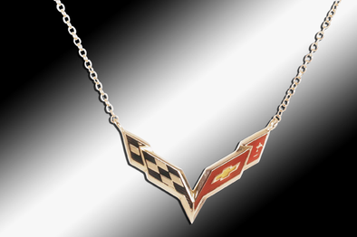 C7 Corvette Emblem Necklace | 14k Gold - [Corvette Store Online]