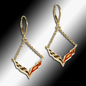 Corvette C7 Enamel Emblem Lever Back Chain Earrings - 14k Gold - [Corvette Store Online]
