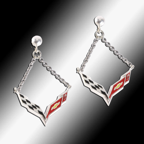 Corvette C7 Emblem Enameled Post Chain Earrings - Sterling - [Corvette Store Online]