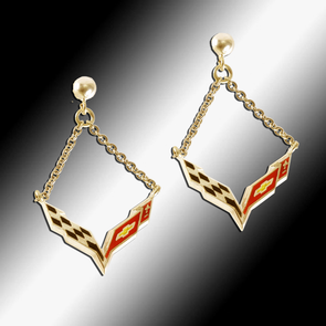 Corvette C7 Emblem Enameled Post Chain Earrings - 14k Gold - [Corvette Store Online]