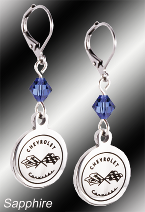 C1 Corvette | Emblem Swarovski Crystal | 5/8'' Earrings - [Corvette Store Online]