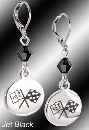 C2 Corvette | Emblem Swarovski Crystal | 5/8'' Earrings - [Corvette Store Online]