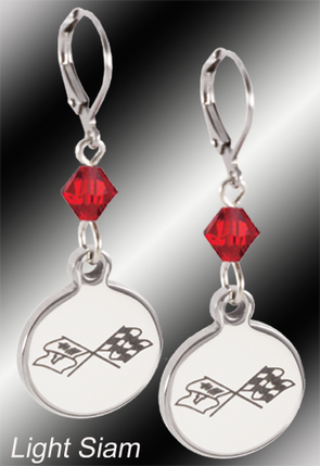 C3 Corvette | Emblem Swarovski Crystal | 5/8'' Earrings - [Corvette Store Online]