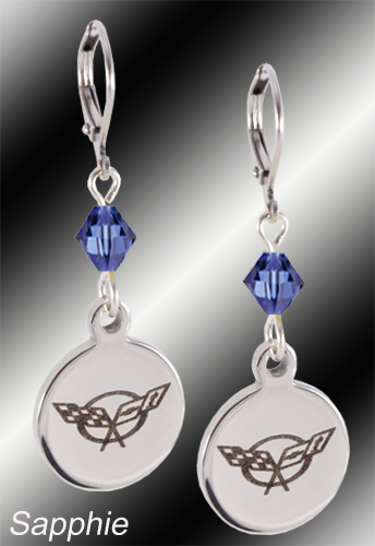 C5 Corvette | Emblem Swarovski Crystal | 5/8'' Earrings - [Corvette Store Online]
