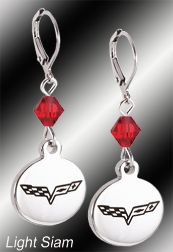 C6 Corvette | Emblem Swarovski Crystal | 5/8'' Earrings - [Corvette Store Online]