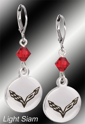 C7 Corvette | Emblem Swarovski Crystal | 5/8'' Earrings - [Corvette Store Online]