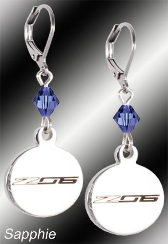 C7 Z06 Corvette | Emblem Swarovski Crystal | 5/8'' Earrings - [Corvette Store Online]