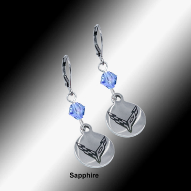 C8 Next Generation Corvette | Emblem Swarovski Crystal | 5/8'' Earrings - [Corvette Store Online]