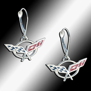 C5 Corvette Sterling Silver Leverback Earrings - [Corvette Store Online]