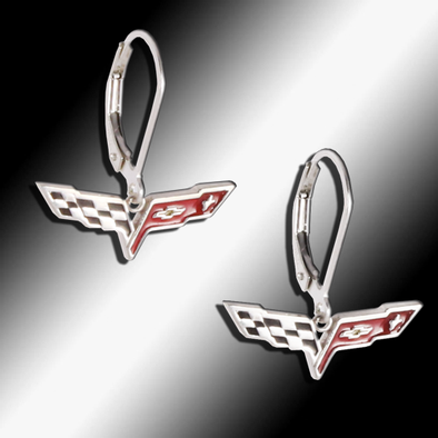 C6 Corvette Sterling Silver Leverback Earrings - [Corvette Store Online]