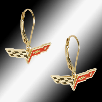 C6 Corvette 14k Gold Leverback Earrings - [Corvette Store Online]