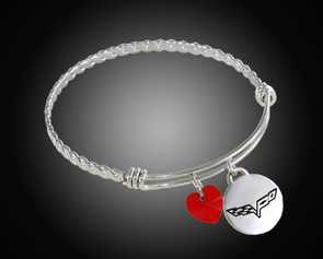 C6 Corvette Twisted Bangle Charm Bracelet - [Corvette Store Online]