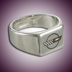C4 Color Emblem Polished Signet Ring - [Corvette Store Online]