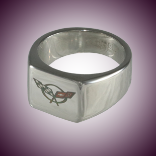 C5 Color Emblem Polished Signet Ring - [Corvette Store Online]