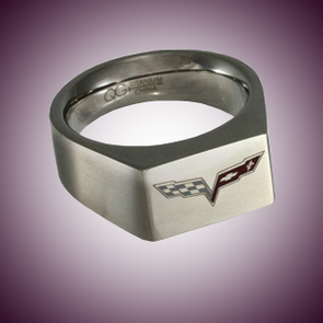 C6 Color Emblem Polished Signet Ring - [Corvette Store Online]