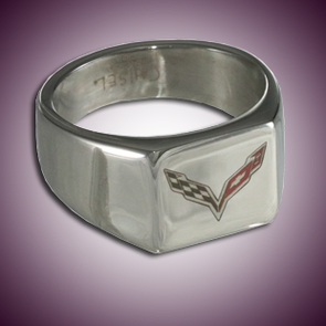 C7 Corvette Color Emblem Polished Signet Ring - [Corvette Store Online]