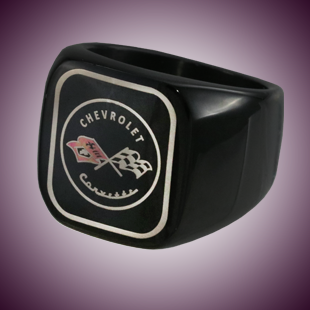 C1 Color Emblem Black Stainless Signet Ring - [Corvette Store Online]