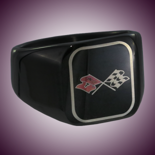 C3 Color Emblem Black Stainless Signet Ring - [Corvette Store Online]