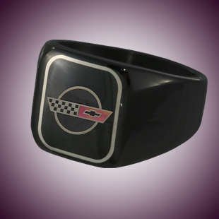 C4 Color Emblem Black Stainless Signet Ring - [Corvette Store Online]