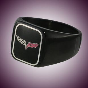 C6 Color Emblem Black Stainless Signet Ring - [Corvette Store Online]