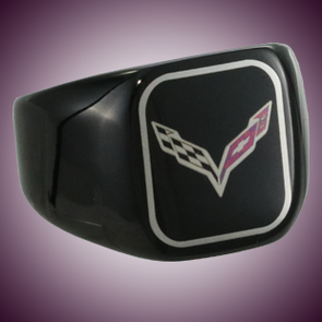C7 Color Emblem Black Stainless Signet Ring - [Corvette Store Online]