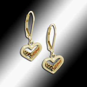 C7 Corvette Emblem Heart Earrings - 14k Gold - [Corvette Store Online]