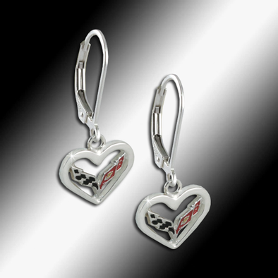 C7 Corvette Emblem Heart Earrings - Sterling Silver - [Corvette Store Online]