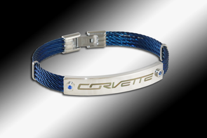 Corvette Signature Blue IP-Plated Cable Bracelet - [Corvette Store Online]