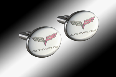 C6 Corvette Cufflinks With Color Emblem - [Corvette Store Online]