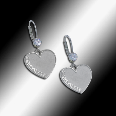 Corvette Heart-Shaped Cubic Zirconia Earrings - Sterling Silver - [Corvette Store Online]