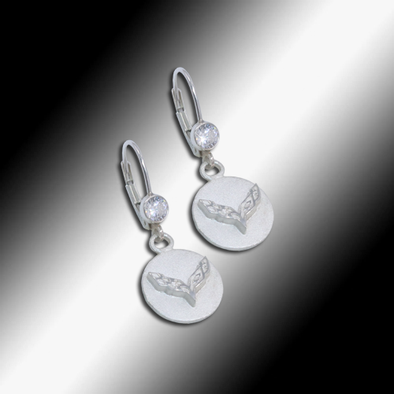 C7 Corvette Emblem Heart Cubic Zirconia Earrings - Sterling Silver - [Corvette Store Online]