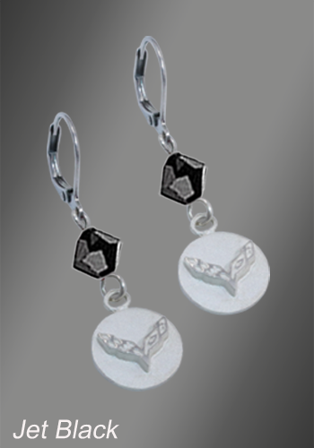 C7 Corvette Emblem Swarovski Crystal | 1-3/8'' Earrings - [Corvette Store Online]